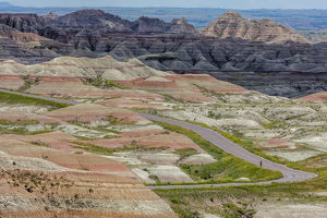 Road cycling in Badlands National Park, South Dakota, USA