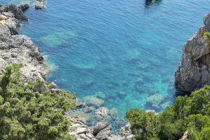 europe/greece/rocky coastline ionian sea corfu greece europe