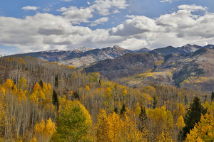 Rocky Mountains Colorado Fall Colors of Aspens and Oaks Keebler Pass, with mountain