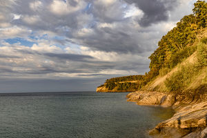 Rugged shoreline, Lake Superior, Pictured Rocks National Lakeshore, Upper Peninsula