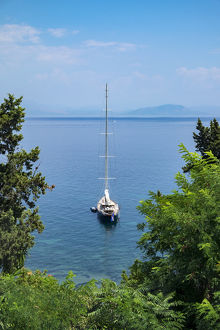 europe/greece/sailboat moored ionian sea corfu greece europe