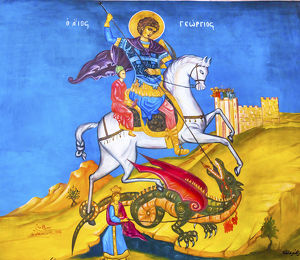 Saint George Dragon Fresco Saint George's Greek Orthodox Church Madaba Jordan