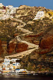 europe/greece/santorini greece zig zag stair pathway leading