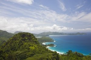 Seychelles, Mahe Island, Morne Seychellois National Park, weat coast view from the