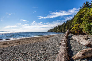 Shoreline of Vancouver Island with the Strait of San Juan de Fuca in background