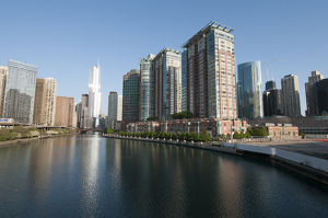 Skyline and Chicago River with Trump International Hotel in center