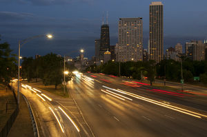 Skyline at dusk from North Avenue bridge, Lake Shore Drive