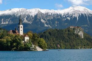 Slovenia, Bled, Lake Bled, Bled Island, Bled Castle and Julian Alps