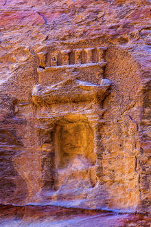 Small Rose Red Rock Tomb Outer Siq Canyon Petra Jordan