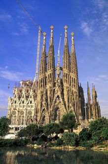 Spain, Barcelona. Sagrada Familia Cathedral, designed by Antoni Gaudi