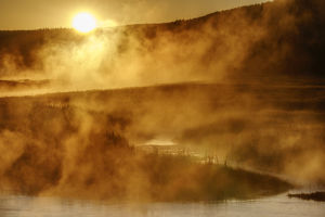Steaming Madison River at Madison Junction, Yellowstone National Park, Wyoming