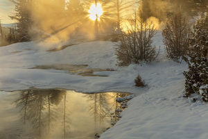 Sunrise greets Grassy Spring at Mammoth Hot Springs in Yellowstone National Park