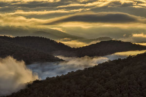 Sunrise and mountain mist, Blue Ridge Mountains from Blue Ridge Parkway near Brevard