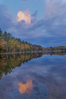 Sunrise reflection on Council Lake, Upper Peninsula of Michigan, Hiawatha National Forest