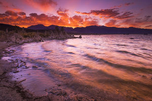 Sunset over the Sierra Nevada from Mono Lake, Mono Basin National Scenic Area, California