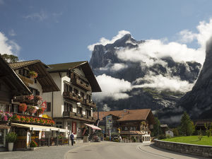 Switzerland, Bern Canton, Grindelwald, Street scene with the Wetterhorn