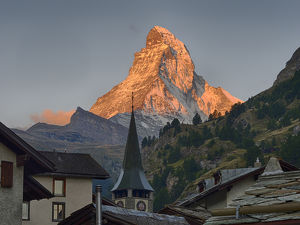 Switzerland, Zermatt, The Matterhorn, sunrise view from Zermatt