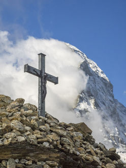 Switzerland, Zermatt, Matterhorn with clouds and cross