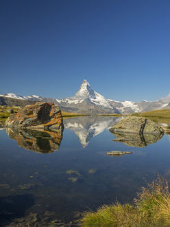 Switzerland, Zermatt, Matterhorn reflected in Stellisee