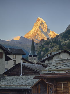 Switzerland, Zermatt, The Matterhorn, view from Zermatt