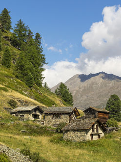 Switzerland, Zermatt, Zmutt, homes along trail