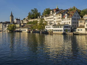 Switzerland, Zurich, Historic Lindenhof area along Limmat River