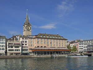 Switzerland, Zurich, Historic Lindenhof area and Limmat River; Saint Peter's