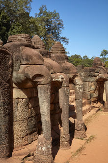 The Terrace of the Elephants, Angkor Thom (12th century temple complex), Angkor World