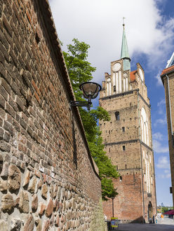 Town Gate Kroepeliner Tor. The hanseatic city of Rostock at the coast of the german