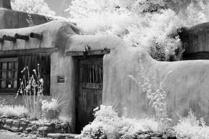 Typical adobe door and entryway in Santa Fe, New Mexico, USA