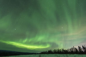 US, AK, Fairbanks. Aurora borealis light display