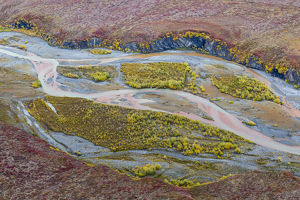 USA, Alaska, Brooks Range, Arctic National Wildlife Refuge. Aerial of Ivishak River
