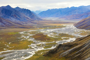 USA, Alaska, Brooks Range, Arctic National Wildlife Refuge. Aerial with mountains