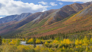 USA, Alaska, Brooks Range. Mountain landscape with stream