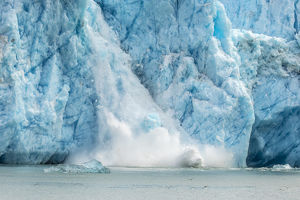 USA, Alaska, Endicott Arm. Close-up of Dawes Glacier calving