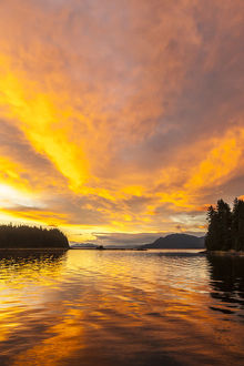 USA, Alaska, Tongass National Forest. Sunset landscape