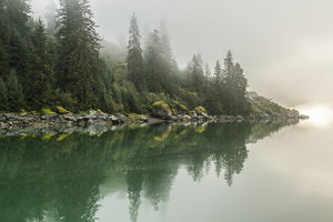 USA, Alaska, Tongass National Forest. Foggy shoreline and water reflection. Credit as