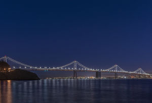 USA, CA, San Francisco, Bay Bridge at Twilight