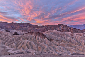 USA, California, Death Valley. Sunrise over Zabriskie Point and the Panamint range
