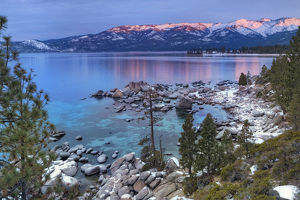 USA, California, Lake Tahoe. Lake overview at sunrise