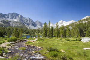USA, California, Little Lakes Valley. One of several glacial lakes along a stream