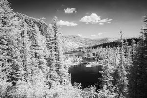 USA, California, Mammoth Lakes. Black & white overview of Twin Lakes. Credit as