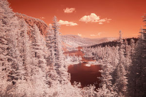 USA, California, Mammoth Lakes. Infared overview of Twin Lakes