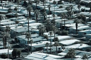 USA, California, Palm Springs. Trailer Park on East Palm Canyon Drive