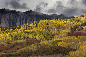 USA, Colorado, Cinnamon Ridge. Mountain and forest landscape in autumn. Credit as