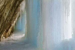 USA, Colorado, Rifle Mountain Park. Ice pillar in limestone cave