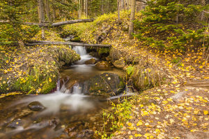 USA, Colorado, Rocky Mountain National Park. Waterfall in forest scenic. Credit as