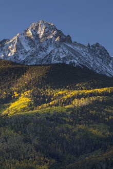 USA, Colorado, San Juan Mountains. Mt. Sneffels and autumn landscape