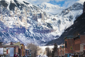 USA, Colorado, Telluride, Main Street and Ajax Peak, winter