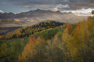 USA, Colorado, Uncompahgre National Forest. Mountains and autumn-colored forests